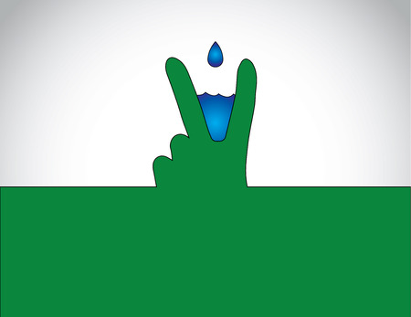 victory or winning human hand gesture with blue water droplet getting collected - successful natural water conservation symbol concept illustration Vettoriali