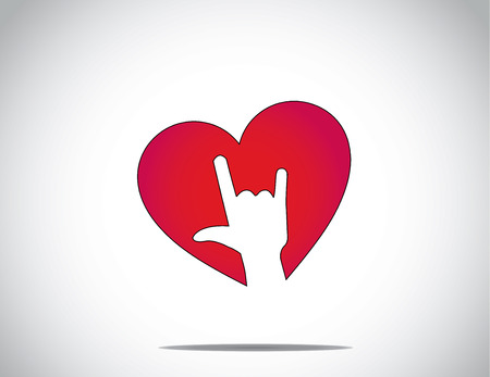 red love or heart shape icon with an i love you hand gesture symbol art with bright white background - abstract concept valentines day greeting card art Vector