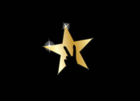 shiny gold colorful star with victory winning v hand gesture silhouette - achivement award icon symbol with black background Vettoriali