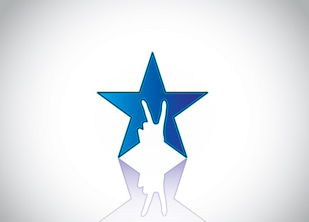 shiny blue colorful star with victory winning v hand gesture silhouette - achivement award design icon symbol with white background & reflection