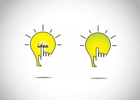 yellow orange bright lightbulb idea solution with a young human hand silhouette touch web app - abstract best interface or web application concept