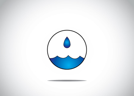 blue water droplet getting collected in an isolated circular bubble art - water preservation or conservation concept artwork