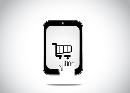 a young human hand clicking selecting a shopping cart icon in a black tablet smartphone & buying ordering an item - on-line shopping mobile web app website concept design art Vector