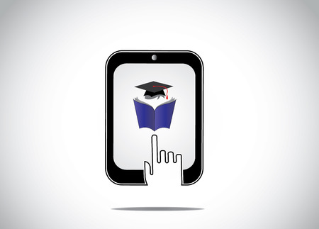 icon of young student reading book with graduation cap in a tablet and a white hand silhouette touching it - professional educational online course for distance learning and evening college concept`` Vettoriali