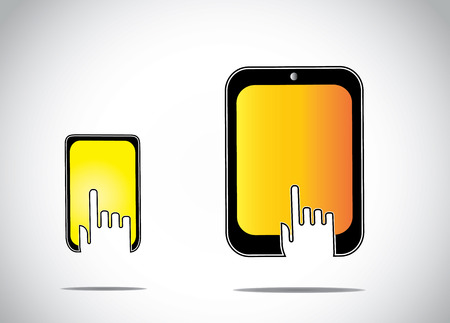 young human hand silhouette touching clicking on a yellow orange colorful mobile tablet smartphone screen - online shopping or conceptual distance education learning concept art