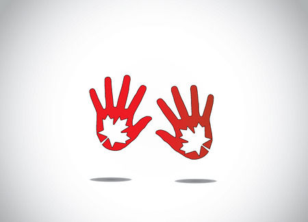 two dark red human hand silhouette with maple leaf leaves symbol in the middle abstract art