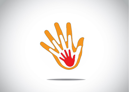 gradient red and orange human hands on top of each other family support children love abstract concept`