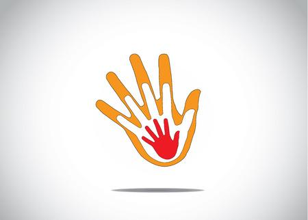 apoyo familiar: gradiente manos humanas rojo y naranja en la parte superior de cada uno de los otros ni�os de apoyo familiar aman concept` abstracto Vectores