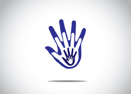 apoyo familiar: gradiente de color azul la mano del hombre en la parte superior de unos a otros ni�os de apoyo familiar encanta concepto abstracto