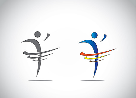 abstract icon symbol of a person dancing with joy, fitness and happiness Vettoriali