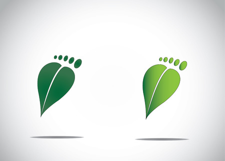 green footprint: green leaf human foot environment friendly carbon footprint abstract image icon Illustration