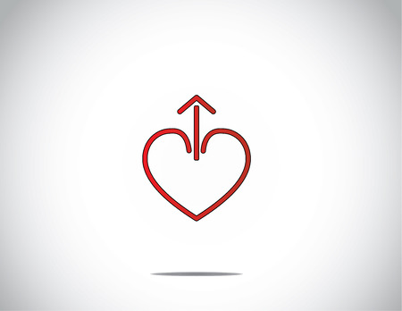 simple red love heart shape with up arrow from the middle with bright white background - abstract concept illustration art