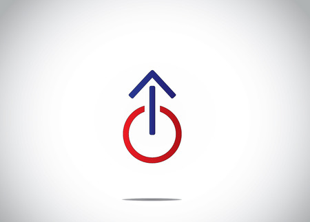 shut down: colorful power off or shut down icon with an up arrow symbol abstract icon concept illustration