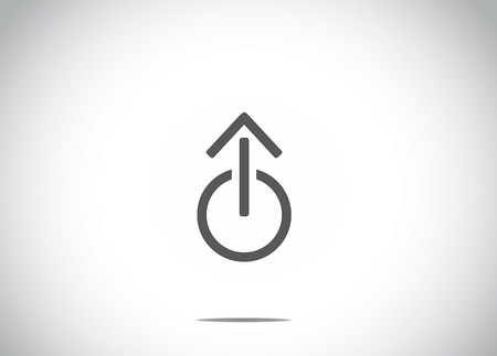 shut off: power off or shut down icon with an up arrow symbol abstract icon concept illustration