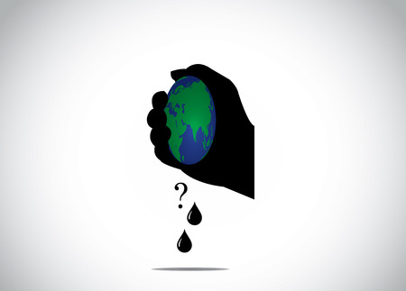 human hand silhouette squeezing planet earth for fossil fuel global warning environmental distruction concept illustration Vettoriali