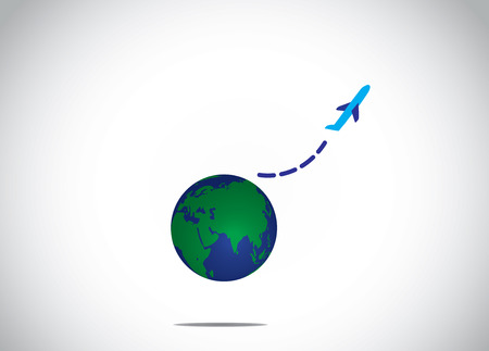 airplane take off flying up from earth global air travel concept illustration. a blue aeroplane silhouette fly upwowards into the bright white sky from the realistic planet earth Banco de Imagens - 32816212