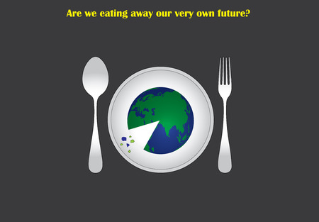 environmental distruction concept with earth served on a plate to eat like a pizza. distruction of environment by humans illustrated with an abstract concept art work Illustration