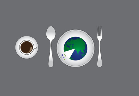 environmental distruction concept with earth served on a plate to eat like a pizza. distruction of environment by humans illustrated with an abstract concept art work Vettoriali