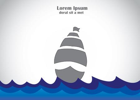 boat ship sailing in blue dark waves of sea ocean or river travel concept illustration art Vettoriali