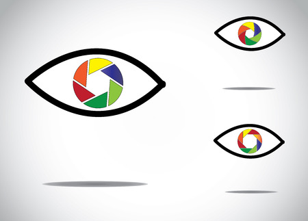 camera shutter: colorful young human eye with different digital camera shutter icon symbols -   abstract photographic eyes illustration collection set