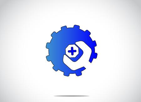 pernos: azul colorido del engranaje rueda dentada con la tuerca de tornillo o perno y llave. Fondo blanco brillante con un azul tecnolog�a de fabricaci�n icono s�mbolo ic�nico ilustraci�n arte conceptual Vectores