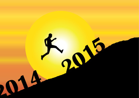 a young man silhouette jumping past 2014 into the new year 2015 on mountain with bright yellow sun & orange sky - evening sunset or morning sunrise concept illustration art