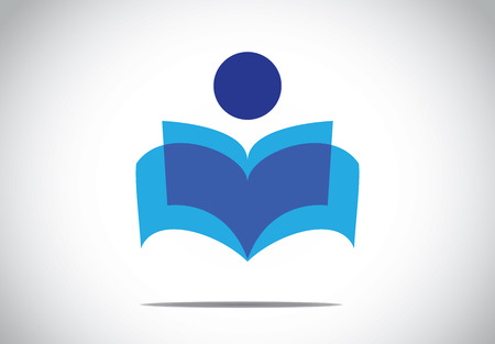 a human person reading an open book concept illustration symbol. colorful man studying literature or novel Vettoriali