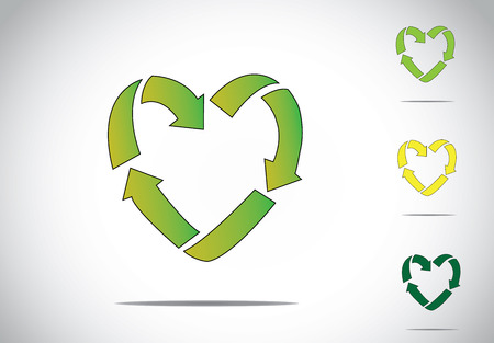 groene kleurrijke liefde of hartvormige recycling symbool icoon concept
