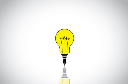 writer: yellow colorful light bulb idea with black fountain pen nib writer student concept. creative innovative unique idea solution writing art illustration with bright white background