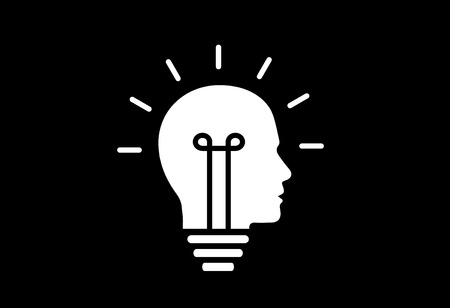 problem solving: idea solution bulb human man head brain concept illustration art