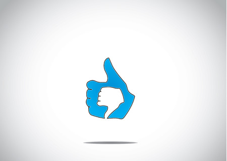 social media thumbs up like unlike dislike paired up icon symbol concept illustration art Vector