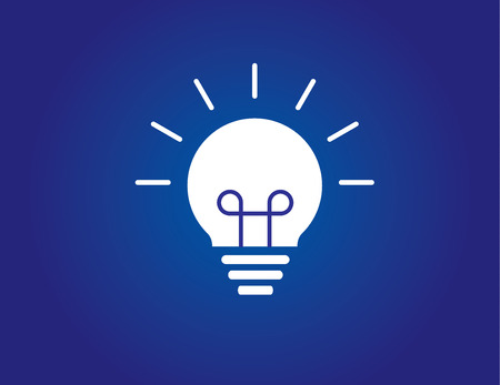 colorful bright simple glowing idea light bulb with blue background Vettoriali