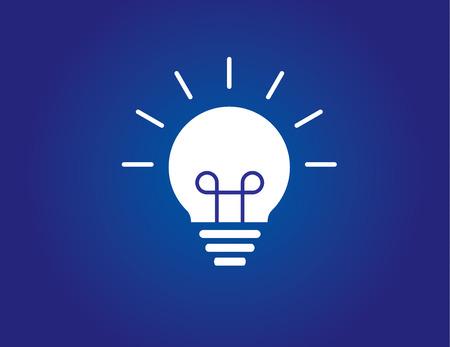 kleurrijke heldere eenvoudige gloeiende idee gloeilamp met blauwe achtergrond