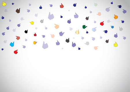 flying rain of colorful thumbs up social media like with bright white background