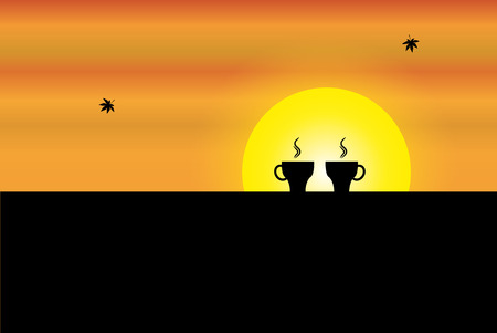 two fresh hot cups of coffee kept on the wall of a balcony with orange sky and yellow sun in the background - concept sunrise illustration art Ilustração