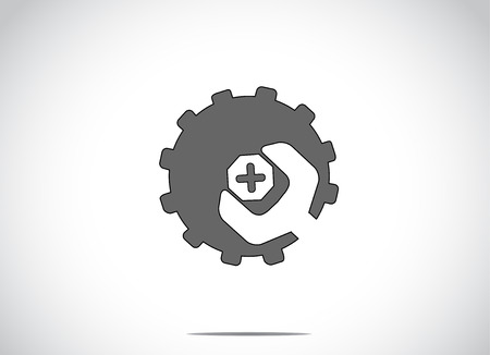 black colorful cog wheel gear with screw nut or bolt & spanner. Bright white background with a blue icon manufacturing technology service symbol icon illustration concept art