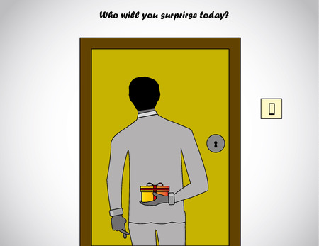 professionally dressed man holding a surprise gift at the back waiting in front of a house door to be opened with finger crossed - concept illustration