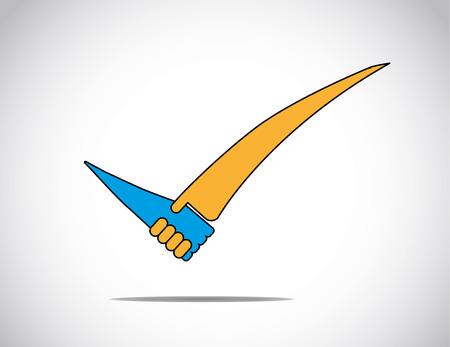 blauw en oranje juiste vinkje met zakelijk succes partnerschap handdruk concept - abstracte illustratie.