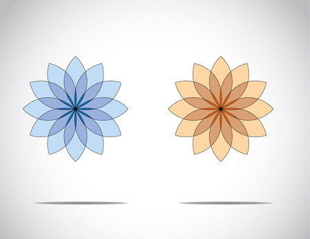 unique beautiful blue & red flowers with bright white background - concept illustration art Illustration