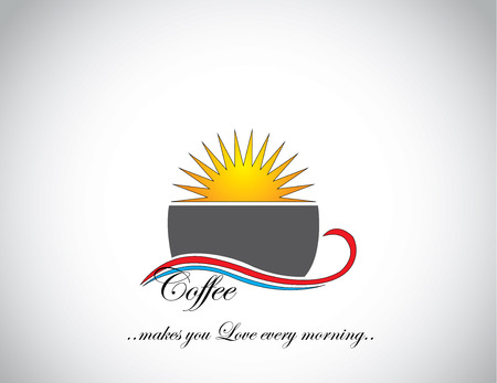 awesome fresh coffee in a black dark cup with with a bright orange yellow sun in the background : love everyday coffee concept illustration art