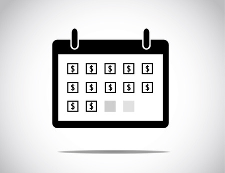 black successful business calendar month shown with everyday blocks with a dollar sign in the middle of the box : business profit growth & success concept illustration Illustration