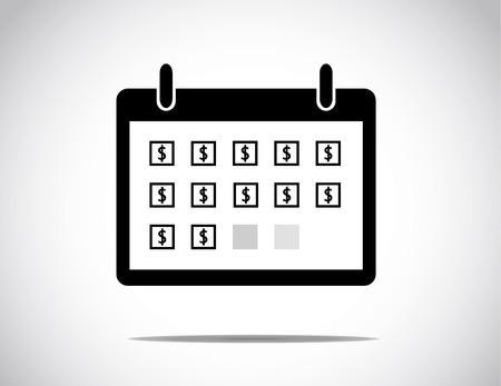 zwarte succesvol bedrijf kalendermaand getoond met alledaagse blokken met een dollarteken in het midden van de doos: zakelijke winstgroei & succes concept illustratie Stock Illustratie