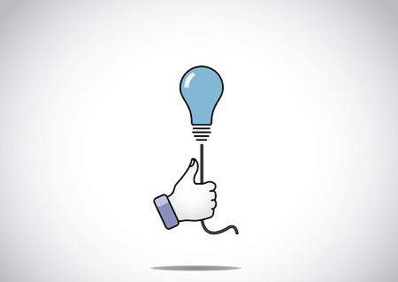 facebook: blue idea solution light bulb with young human victory winning thumbs up hand gesture - the winning solution concept illustration artwork