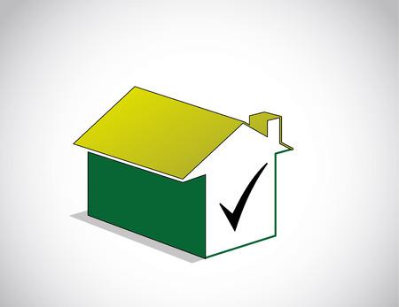 logo batiment: parfait coloré choisi verte icône maison et symbole de coche droit