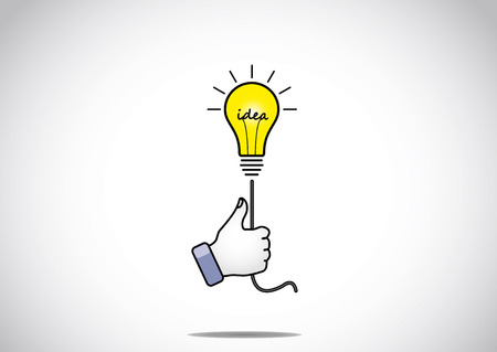 winning idea: bright glowing yellow idea solution light bulb held by young human victory winning thumbs up hand gesture - the winning solution concept illustration artwork Illustration