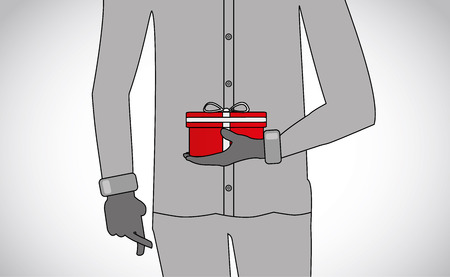 professionally dressed man holding a surprise gift with finger crossed - concept illustration Vettoriali