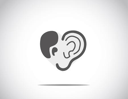 abstract concept illustratie van het horen illustratie steun met oor en citaten gerangschikt in de vorm van een hart of liefde