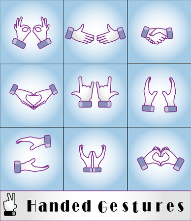 unique most useful two handed hand gestures - business concept symbol icon set Vettoriali