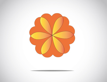 unique beautiful red & orange flower with heart shaped petals & bright white background - concept illustration art