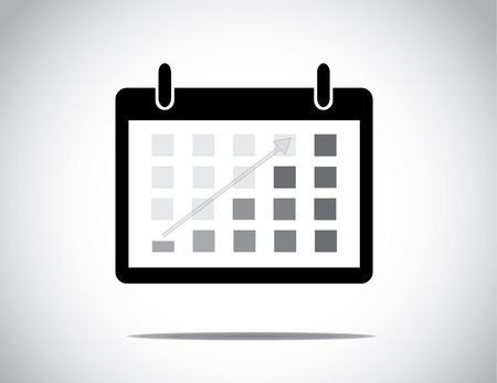 black calendar with everyday blocks colored to show progress made with up arrow : business profit growth & success concept illustration Illustration